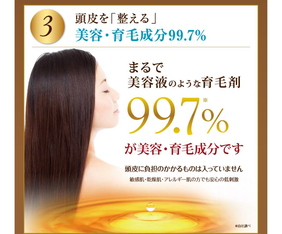 3. 頭皮を「整える」美容・育毛成分99.7%