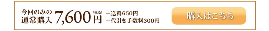 今回のみの通常購入7,600円(税込)+送料650円+代引き手数料300円